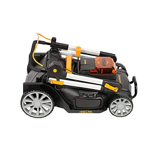 Lawnmaster Cordless Lawnmower 46cm Cut Width with 60V Max 5.0Ah Battery & Fast Charger | Powerful Petrol Alternative with Rear Roller, Grass Box & Mulching