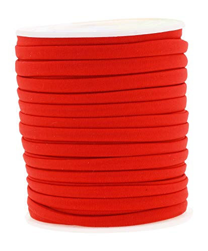 Mandala Crafts Soft Elastic Cord from Spandex Nylon Fabric for Jewelry Making, Sewing, and Crafting (Red)