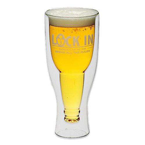 Kitchen Craft Bierglas Lock in, doppelwandig, mit umgedrehter Bierflasche, 420 ml