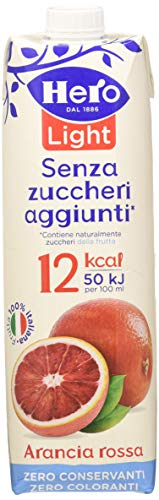 Hero Light Bevanda Arancia Rossa senza Zuccheri Aggiunti, 8 Confezioni da 1000 ml