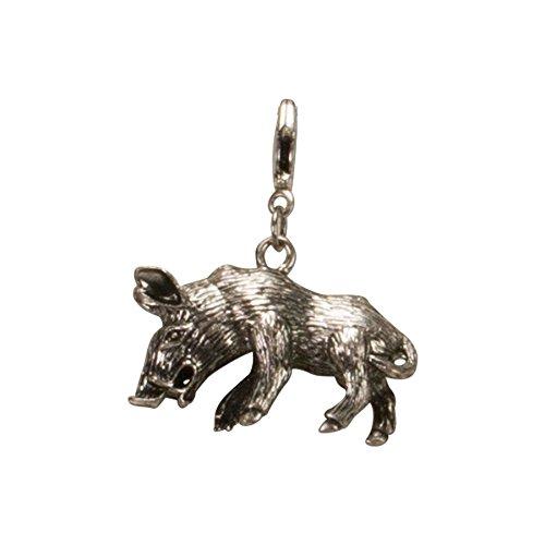 Alpenflüstern Trachten-Anhänger Wildschwein fürs Charivari antik-silber-farben AAH092