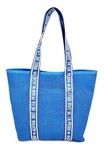 Bolso de mujer azul con asa para hombro shopper de malla Agatha Ruiz de la Prada