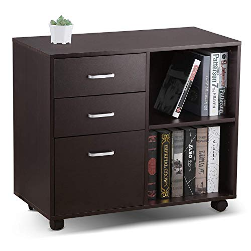 VANSPACE 3-Drawer Mobile Wood File Cabinet, OC02 Lateral Filing Cabinet with Wheels, Printer Stand with 2 Adjustable Open Storage Shelves for Home Office, Black