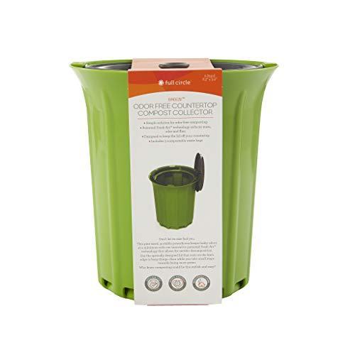 Full Circle Breeze Odor Free countertop Compost Collector, Green Slate