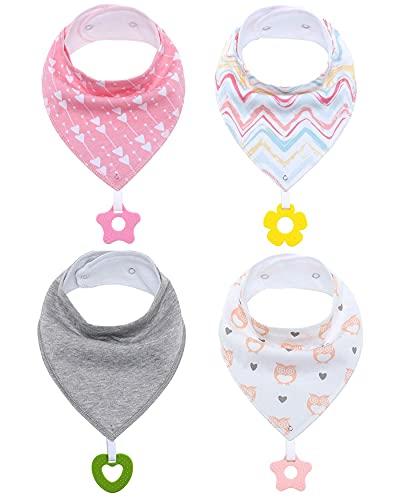 ZIGJOY - Paquete de 4 baberos de dentición de algodón orgánico para recién nacidos, bebés, unisex, baberos con pañuelo para bebés, baberos para la dentición, alimentación de dentición Rosa