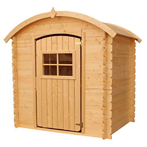 Gartenpirat Spielhaus Maja 105x130 cm aus Holz Natur mit Boden und rundem Dach für Kinder Outdoor
