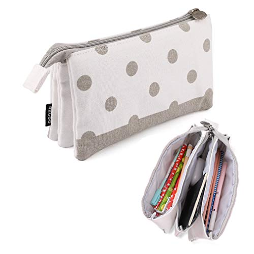 iSuperb Large Capacity Pencil Case 3 Layers Pencil Pouch Zipper Stationery Organizers Big Pen Bag Canvas Makeup Cosmetic Bag Pen Box for Girls Women