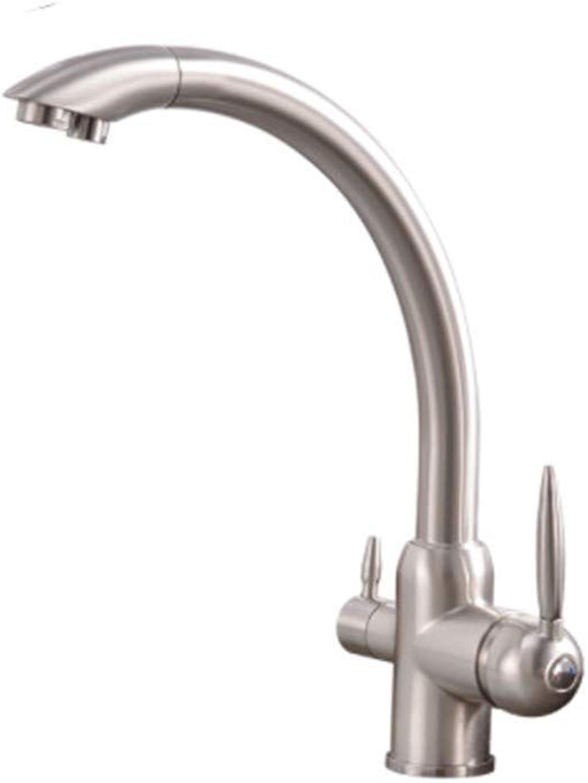 Edelstahl Einhand Mischer Einhebel Küchen-Hahn-Biegungs-Rohr 360 Grad-Rotation Mit Wasseraufbereitung Eigenschaften Doppelgriff-Hahn Für Küche
