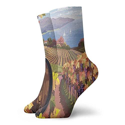 Calcetines de compresión para mujer y hombre, paisaje, viñedo, agricultura, temporada de vinos, uvas en la granja, calcetines ideales para circulación, médico, correr, atletismo, enfermera, viajes