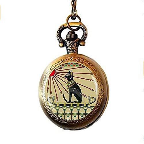 Bijoux chat égyptien, bijoux chat art nouveau, collier montre gousset Bastet, bijoux chat...