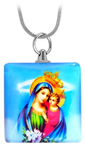 Kaltner Präsente Geschenkidee - Kette Halskette mit Heiligenbild Anhänger Gottes Mutter Maria mit Jesus Kind Madonna