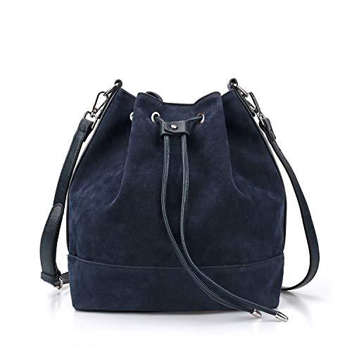 AFKOMST Drawstring Bucket Bag for Women Large Crossbody Purse and Shoulder Bag Suede Tote Handbags Navy