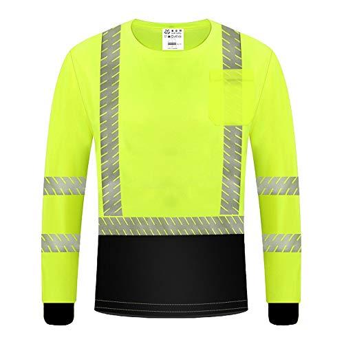 QXF-DBX Weste mit Reflective Hi Vis Langarm T-Shirt Hi Vis Arbeit Reflektierende Sicherheit Langarm Polo T-Shirt Pullover Reflektierende Sicherheit Sicherheit Arbeit Atmungsaktiv AS