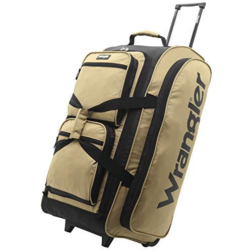 Wrangler Wesley Rolling Duffel Bag, Tannin, Large 30-Inch