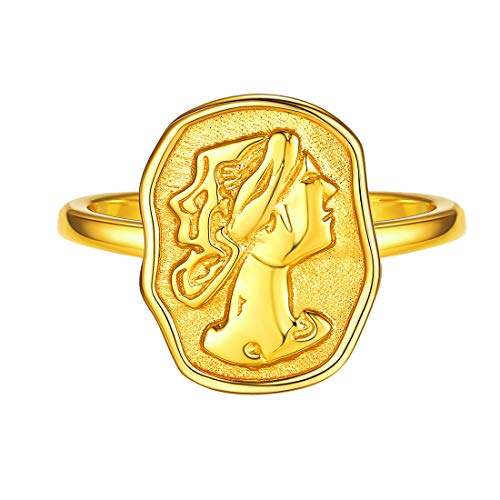 ChicSilver エリザベス コイン 指輪 レディース 人気 ゴールド k18金 リング フリーサイズ 金属アレルギー対応 アクセサリー