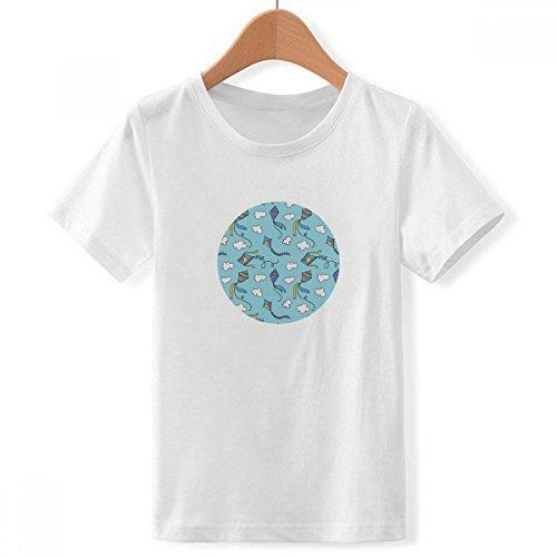 DIYthinker Geometría de la Mano Pintada patrón Simple Cometa de Cuello Redondo Camiseta para Chico XXX-Grande