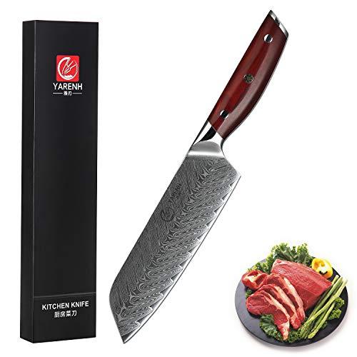 YARENH Cuchillo Santoku Damasco 18 cm - Cuchillos de Cocina Profesionales de Acero de Japoneses Damasco & Mango de Madera Dalbergia,Cuchillo de Chef Profesional KTF-Serie