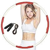 Dowowdo Hula Hoop - Pneumatico per il fitness, rimovibile, con corda per saltare, per adulti e ragazzi, rosso e bianco