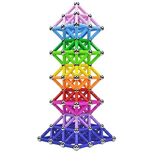 Veatree 160 Pezzi Puzzle Blocchi magnetici Giocattoli, Costruzione di Magnete Kit di Costruzione Giocattoli educativi per Bambini Che Giocano Gioco impilabile con Mattoni e Bastoncini magnetici