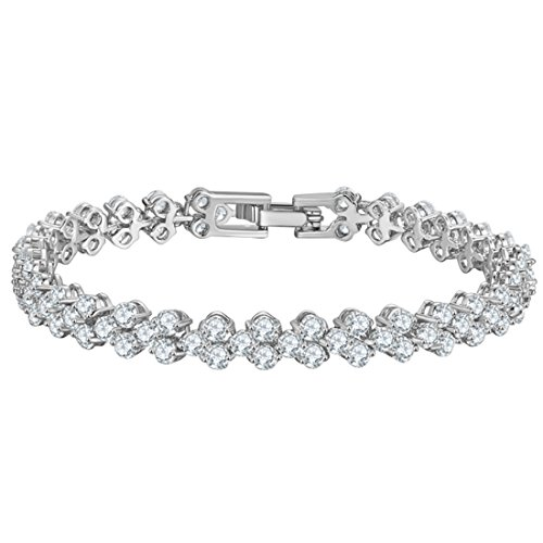 joyliveCY Pulseras de Diamantes de Cristal, Valentines Pulsera de Cadena de Regalos de los Amantes de Plata