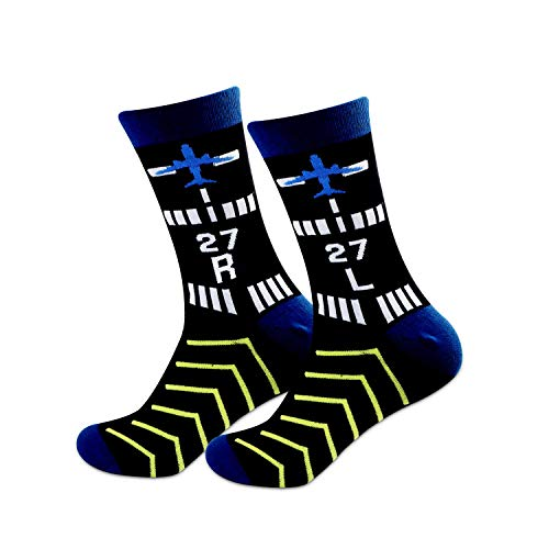 MBMSO Pilot Gifts Trust Me I'm a Pilot Socks Aviation Gifts Left Rudder Right Rudder Socks Aviation Themed Gifts (2 Pairs 27 LR)