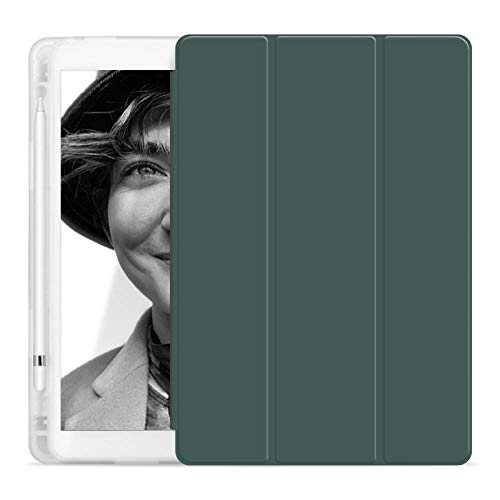 YYLKKB para iPad7 Tablet Case Air3 SHELM Soporte Auto Wake SLEELE 10.2 Pulgadas iPad Mini 4 5 Tableta de 11 Pulgadas Cubierta Protectora con bolígrafo (sin Pluma)-Verde Oscuro_iPad 7 10.2 Pulgadas