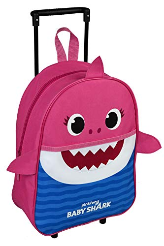 Baby Shark Backpack with Wheels for Kids - Small Travel Bag Yellow Blue Pink - Kindergarten Toddler Carry on Suitcase 2/5 Years - Children's Luggage for Toys and Leisure 38x27x12 cm (Pink)