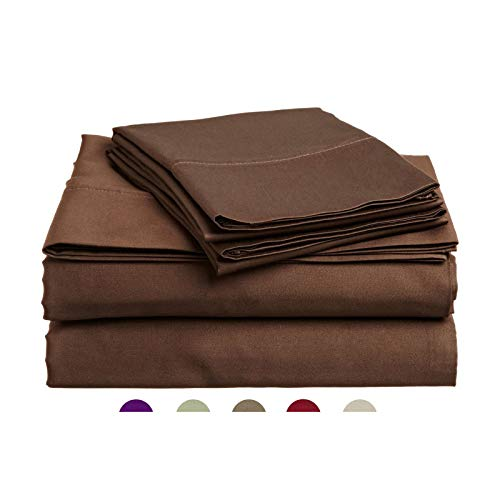High Strength Natural Bamboo Fiber Yarns Egyptian Comfort 1800 Thread Count 4 Piece Full Size Sheet Set, Chocolate Color