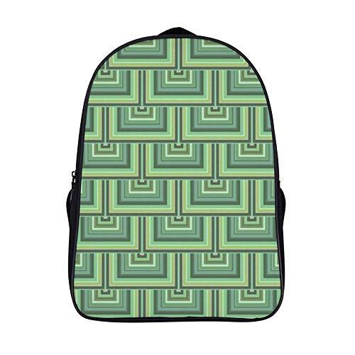 XIAHAILE Kompakte Rucksack Büchertasche für Männer und Frauen, leichter Rucksack für Schul und Urlaubsreisen,Oliv Grün Streifen Viereck Schuppen Muster