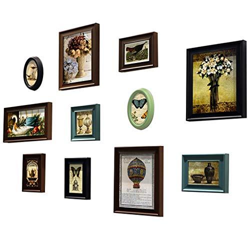 Arte de oficina en casa Marco de fotos Decoración de pared, marcos de cuadros Conjuntos de marco de fotos retro, conjunto de marco de fotos, decoración de marco de fotografías de pared de sala de esta