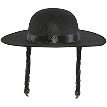BLACK FEDORA WITH CURLY SIDEBURNS JEWISH RABBI ADULT FANCY DRESS COSTUME LOT