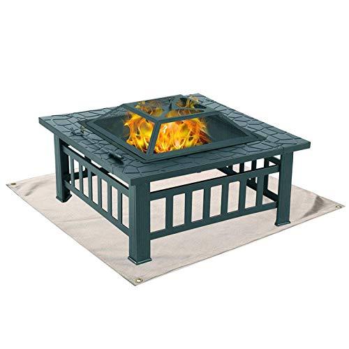 gerFogoo Feuerschalen-Matte, Fiberglas-Tuch, geeignet für Boden, Terrasse, Deck, Rasen, Outdoor oder Camping, Bodenschutzmatte (100 x 100 cm)