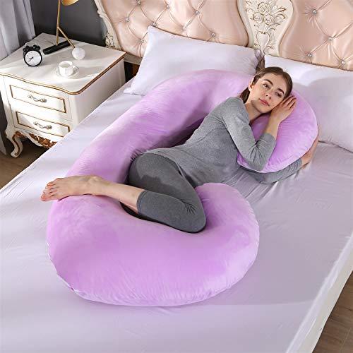 Z-life Velvet Grossesse Oreiller, C-Shape Full Body Maternité Soutien De Taille For Le Dos Hanches Jambes Du Ventre For Les Femmes Enceintes Côté Sleeper, 80 * 155cm (Color : Purple)