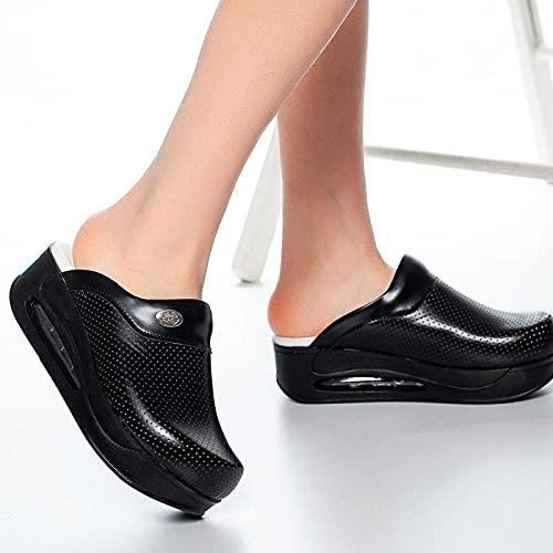 ZXQYLFLY Pantofole Donna,Femmina Comfort Casual Nurse Medical Ortopedico Ospedale Cook Cook Pantofole da Lavoro qualità Medical Casual Pantofole-Black & Black_41 UE