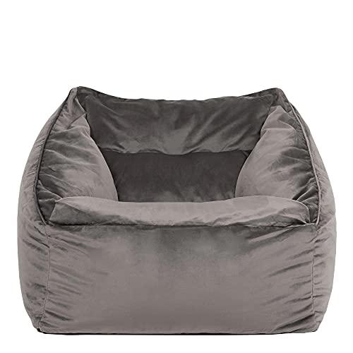 """Icon Übergroßer Sitzsack-Sessel """"Milano"""", Anthrazitgrau, Riesige Sitzsäcke für das Wohnzimmer, 100cm x 88cm, Extra groß, Samt, Sitzsäcke für das Wohnzimmer"""