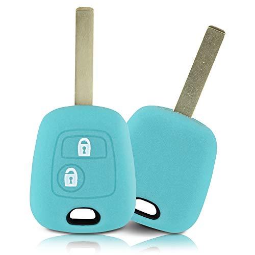 ASARAH Couvercle de clé en Silicone Premium Compatible avec Peugeot, Couvercle de Protection pour clés de Voiture, Couvercle pour Type de clé 2BK - Bleu Vif