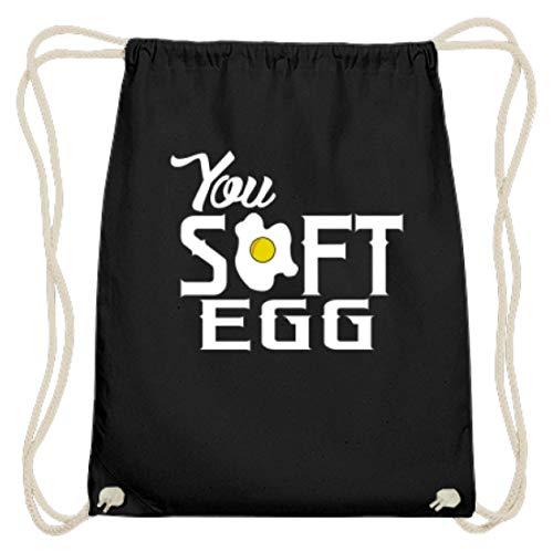 Lustiges Du Weichei/You Soft Egg - Denglish Party Design Dissen Sarkasmus Spaß - Baumwoll Gymsac -37cm-46cm-Schwarz