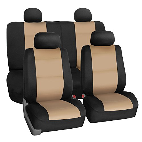 FH Group FB083114 Neoprene Seat Covers (Beige) Full Set – Universal Fit for Cars Trucks and SUVs Kentucky