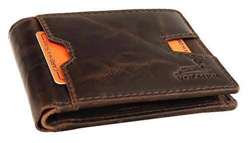 Fa.Volmer braune robuste Geldbörse Büffelleder im modernen Used-Look und im Querformat, 12 x 9,5 x 2 cm, VO21