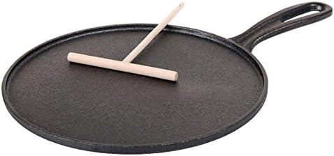 Benzer - Sizzle Cast Iron Crepe Pan with Wooden Roller 26cm Gift Box: Pots & Pans: Amazon.com.au