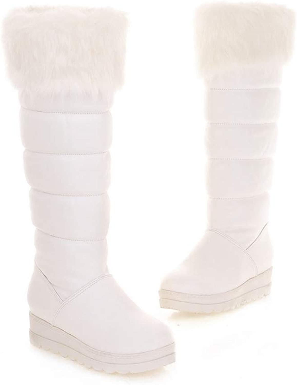 JOYBI Women Winter Platform Mid Calf Boot Fur Lined Slip On PU Leather Round Toe Winter Warm Snow Boots