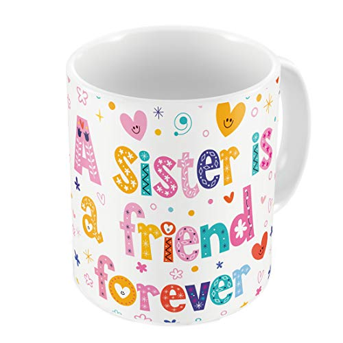 Indigifts Raksha Bandhan Gifts for Sister Sis is a Friend Forever Quote White Coffee Mug 330 ml - Gifts for Sister, Rakshabandhan...