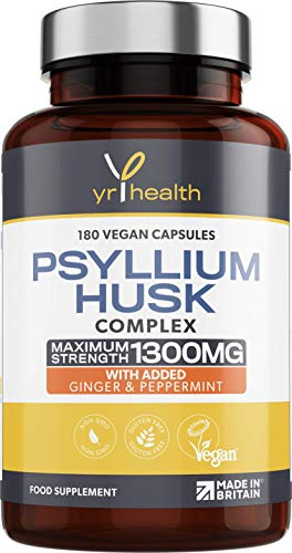 Psyllium Husk Capsules - 1300mg Fibre Supplement - 180 Vegan Capsules with Added Peppermint & Ginger - 2 Capsules not Tablets Per Serving - Plantago Ovata Plant Seeds - Made in The UK by YrHealth