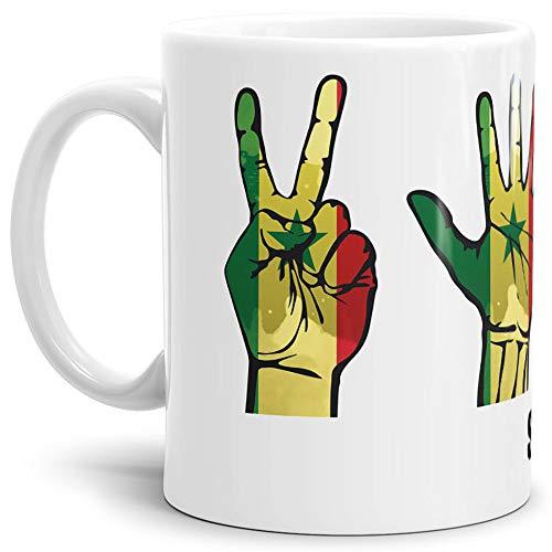Tassendruck Flaggen-Tasse mit Handzeichen von Senegal - Weiss - Fahne/Länderfarbe/WM/Weltneisterschaft/EM/Europameisterschaft/Cup/Tor/Qualität Made in Germany