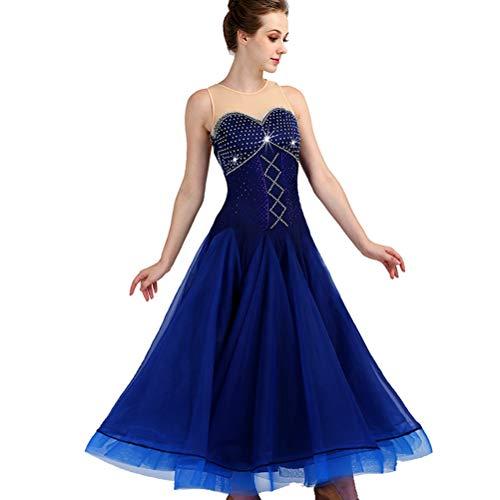 Rundhals Ballsaal Tanz Kleid Modern Glatt Walzer Tango Party großer Swing Tanzrock Ärmel Wettbewerb Tanz Abnutzungs Performance Kostüme, XXL