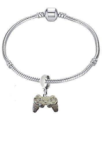 Giftsforall gt248 Charm-Anhänger für Spielekonsolen-Konsolen-Controller, versilbert, rhodiniert, Schlangenarmband, 2,2 x 1,6 cm