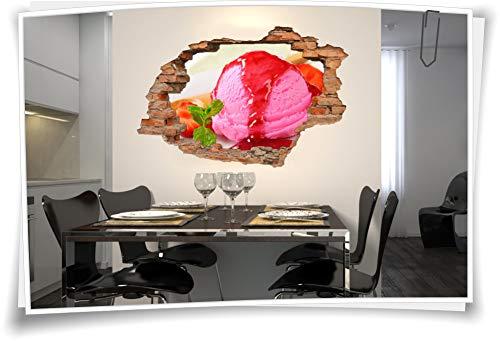 Medianlux 3D muurschildering wandtattoo wandsticker ijsbol aardbei bord lepel siroop deco