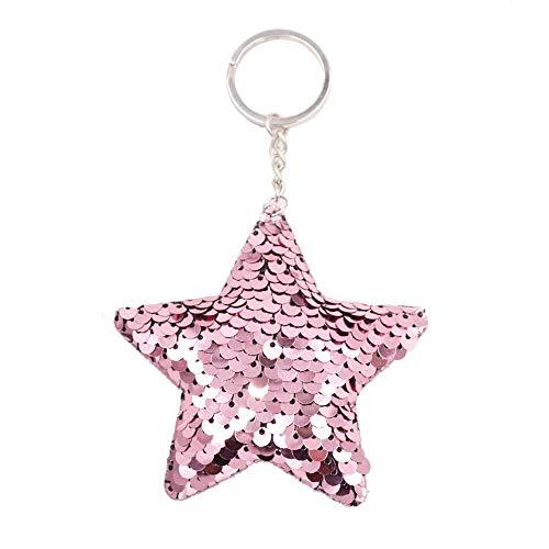 Probeninmappx - Portachiavi con paillettes e stella glitterata, per auto, borsetta e gioielli, decorazione per bambini