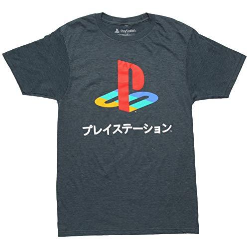 Playstation Logo Japanese Kanji Adult T-Shirt - Heather Navy (Large)