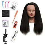 Armmu Mannequin Head with 100% Real Hair, 16' Hairdresser Cosmetology Mannequin Manikin Training Practice Doll Head for Hairstyling and Free Clamp Holder- Black